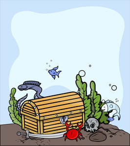 Treasure Trunk Under The Sea - Vector Cartoon Illustration