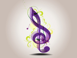 Treble Clef Music Note With Special Effects.