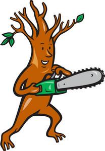 Tree Man Arborist With Chainsaw