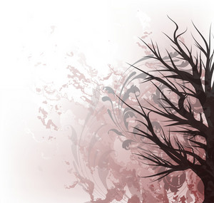 Tree On Grunge Background Vector Illustration