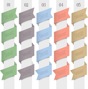 Trendy Numbered Banners In Origami Style