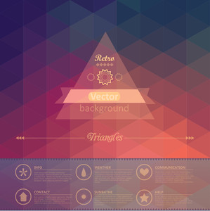 Triangle Seamless Background. Retro Label Design. Infographics Composition With Geometric Shapes. Seamless Pattern On The Back Is Complete. Vector File Has Few Layers For Easy Using.