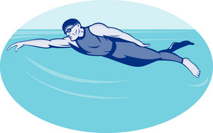 Triathlon Athlete Swimming Freestyle Side
