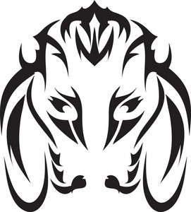 Tribal Vector Element With Veal Head