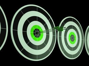 Triple Dart Shows Focused Successful Aim