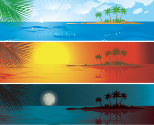Tropic Resort Daytime Vector Banners.