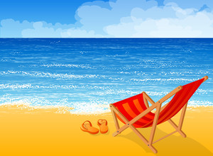 Tropical Beach. Vector Background