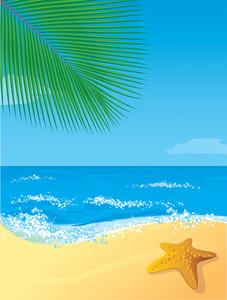 Tropical Beach. Vector.