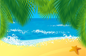 Tropical Beach With Coconut Palm Trees. Vector.