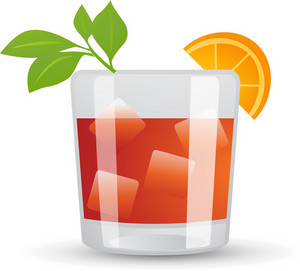 Tropical Drink In Square Glass Icon