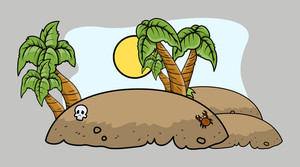 Tropical Pirate Island - Vector Cartoon Illustration