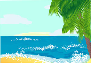 Tropical Sea Landscape. Vector.