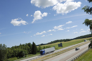 trucking on a summery highway