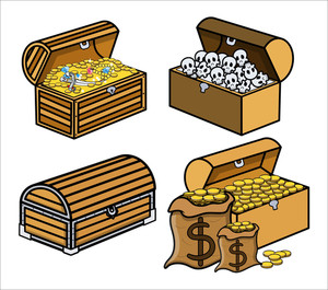 Trunk And Boxes Of Treasure And Skulls - Cartoon Vector Illustration