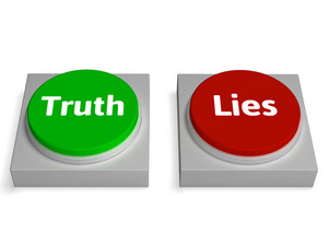 Truth Lies Buttons Show True Or Liar