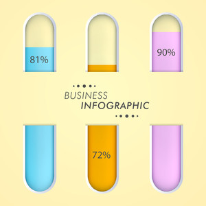 Tube metter with percentage for business infographic.