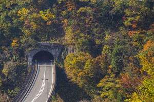 Tunnel road to Shirawaka-go. Japan