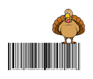 Turkey Bird Over The Barcode