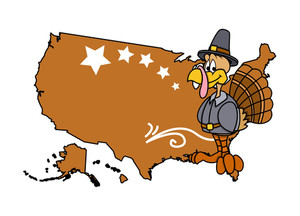 Turkey Bird With Usa Map