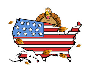 Turkey With Usa Flag Map