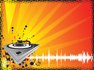 Turntable On Music Halftone Background