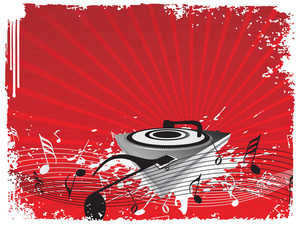 Turntable On Music Halftone Red Background