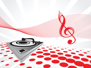 Turntable On Red Musical Background
