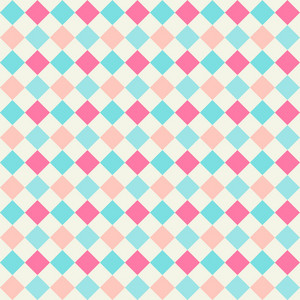 Turquoise And Pink Diagonal Checkerboard Pattern
