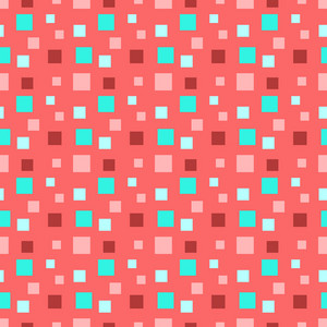 Turquoise, Red, And Pink Squares Pattern
