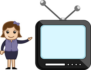 Tv Anchor - Office Character - Vector Illustration