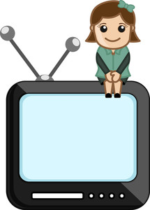 Tv Assistance - Office Character - Vector Illustration