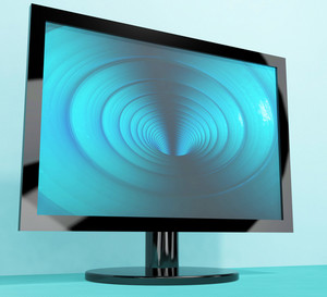 Tv Monitor With Blue Vortex Picture Representing High Definition Television Or Hdtv