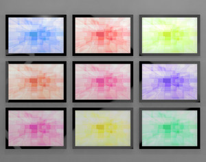 Tv Monitors Wall Mounted In Different Colors Representing High Definition Televisions Or Hdtvs
