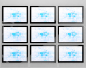 Tv Monitors Wall Mounted Representing High Definition Televisions Or Hdtvs