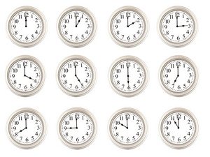 Twelve Clocks Showing Different Times