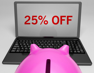 Twenty-five Percent Off On Notebook Showing Online Discounts