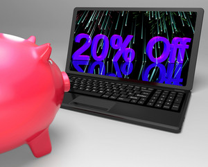 Twenty Percent Off On Laptop Shows Discounts