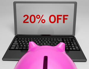 Twenty Percent Off On Notebook Showing Sales