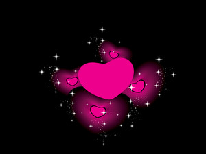 Twinkle Star Background With Pink Hearts