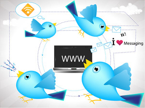 Twitter Birds Displaying Concept Of New Media Communication .