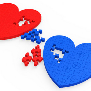 Two 3d Hearts Showing Love Partners