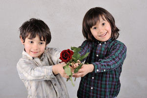 Two boys with red rose