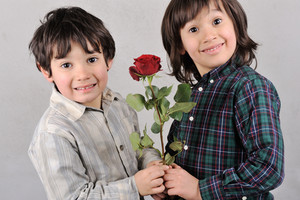 Two brothers holding red rose