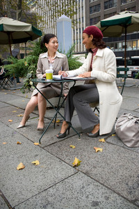 Two business women having a casual meeting in the city.