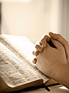 Two clasped hands are resting on the pages of the Bible