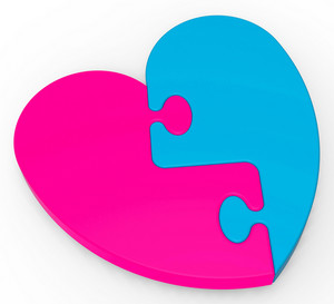 Two-colored Heart Puzzle Shows Marriage