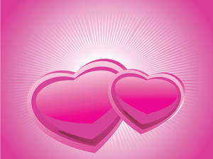 Two Couple Heart And Pink Background