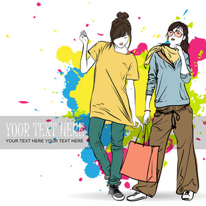 Two Fashion Girls On A Grunge Background. Vector Illustrator.