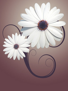 Two Flowers - Retro Background