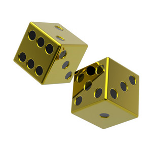 Two Gold Dices Isolated On White.